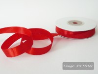 Satinband rot, Rolle 12mm breit, 25m lang